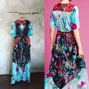 Anthropologie Evensong Burnout Velvet Maxi Dress